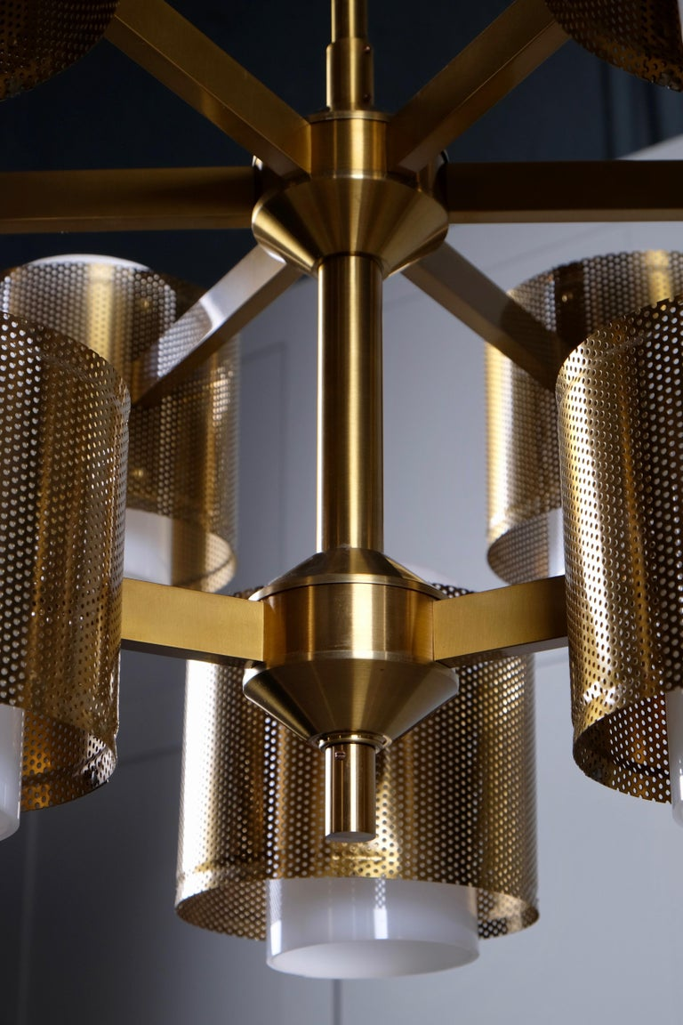 Set of 4 Brass Chandeliers by Holger Johansson, Sweden, 1960s For Sale 2