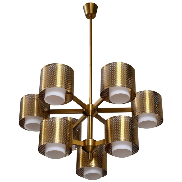 Set of 4 Brass Chandeliers by Holger Johansson, Sweden, 1960s For Sale