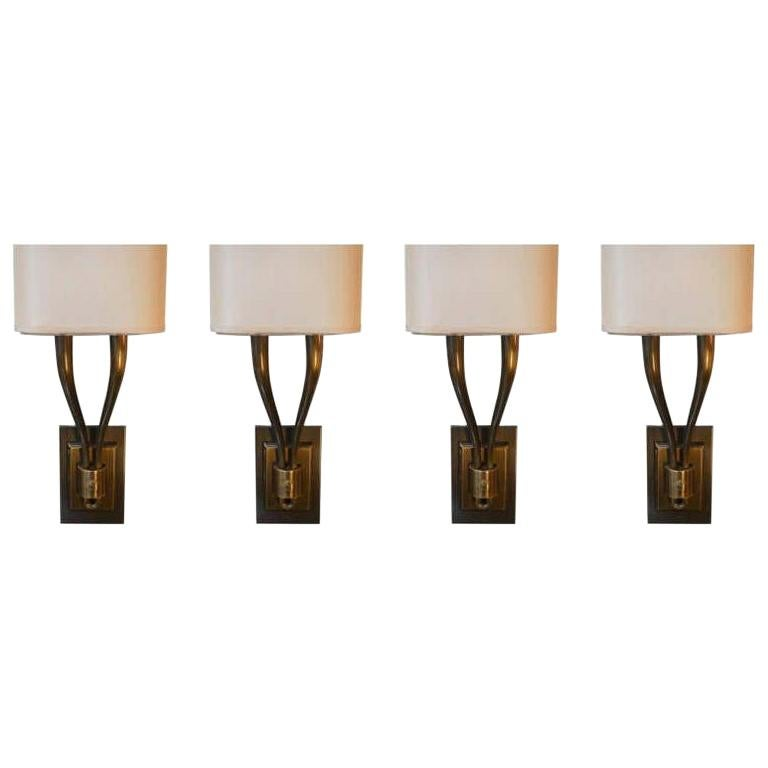 Set of Four Brass Sconces For Sale