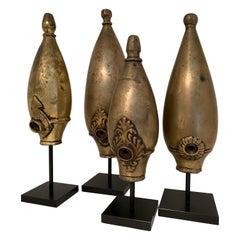 Set of 4 Bronze Opium Pipes