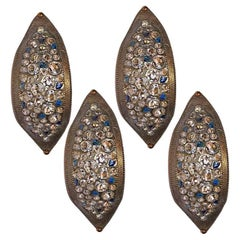 Set of 4 Bronze Sconces with Glass Insets, Sold Per Pair