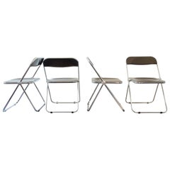 Set of 4 Brown 'Plia' Chairs by Giancarlo Piretti for Anonima Castelli, Italy