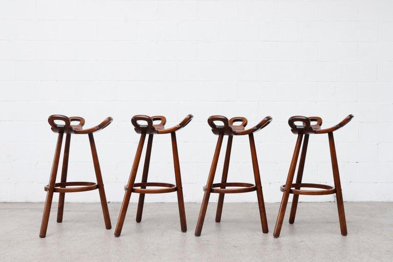 Mid-Century Modern Set of 4 Brutalist' Bar Stools For Sale