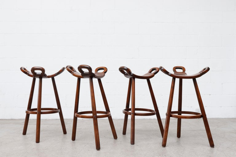 Set of 4 Brutalist' Bar Stools In Good Condition For Sale In Los Angeles, CA