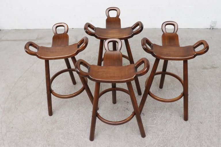 Mid-20th Century Set of 4 Brutalist' Bar Stools For Sale