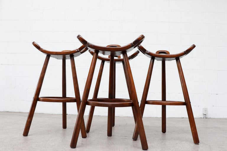 Wood Set of 4 Brutalist' Bar Stools For Sale