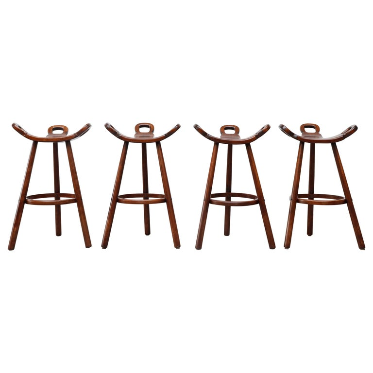 Set of 4 Brutalist' Bar Stools For Sale