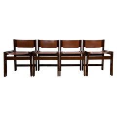 Set of 4 Brutalist Dining Chairs in Gorgeous Thick Leather, 1970s