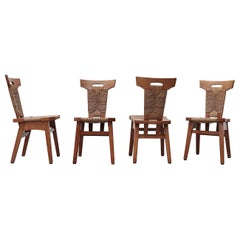 Set of 4 Brutalist Dining Chairs with Rush Seating