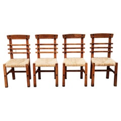 Set of 4 Brutalist Oak and Straw Dining Chairs, Spain, 1950