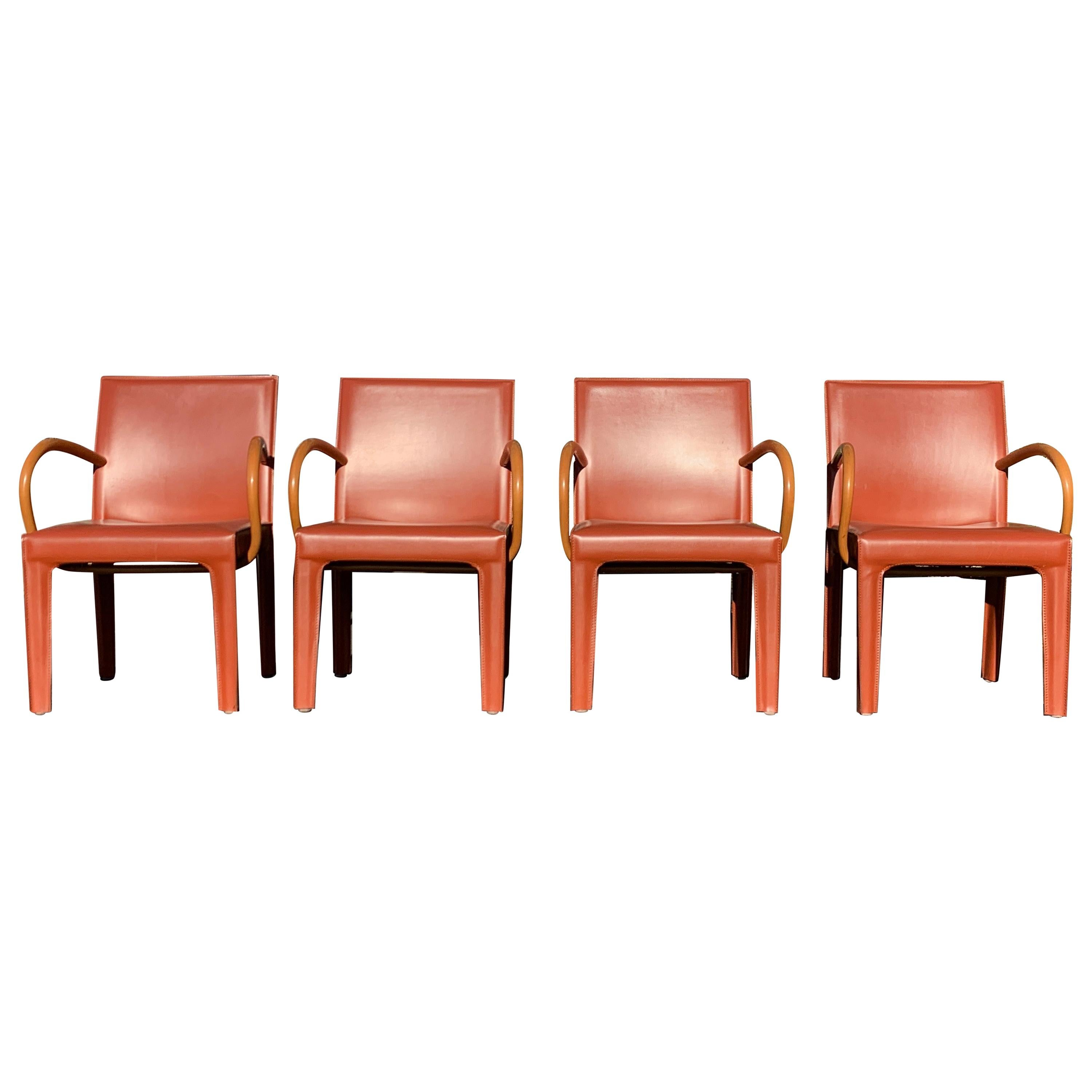 Set of 4 Burgundy Leather Dining Chairs by Arper