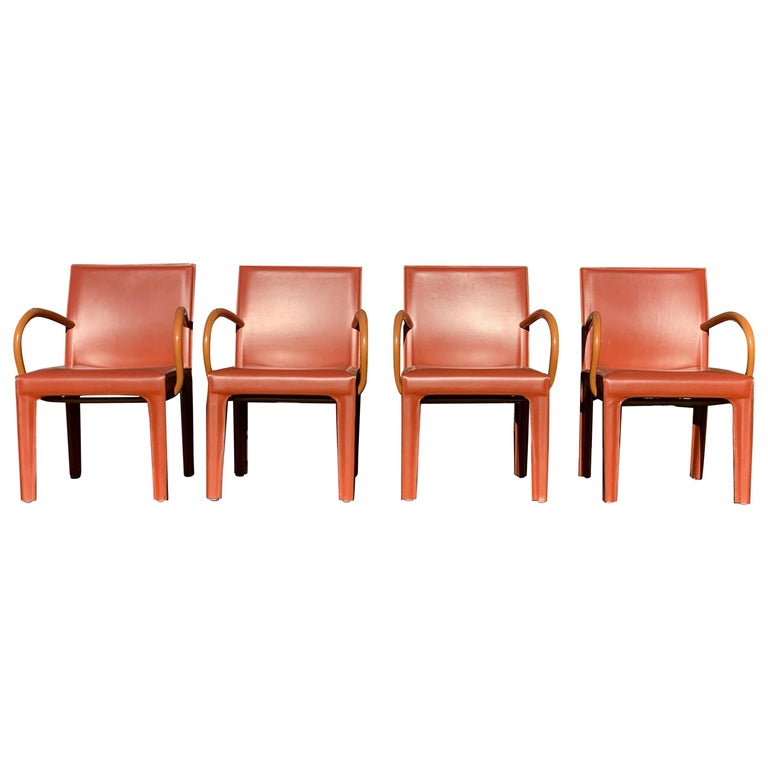 Set of 4 Burgundy Leather Dining Chairs by Arper For Sale