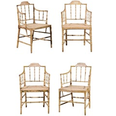 Set of Four, circa 1830 English Stripped Bamboo Armchairs