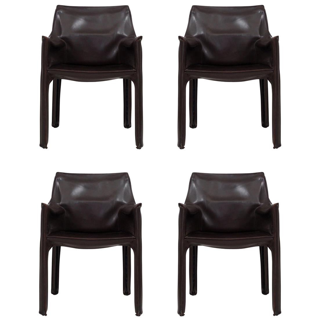 Set of 4 CAB Armchairs by Mario Bellini for Cassina