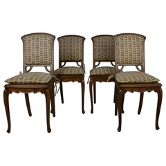 Set of 4 Cabriole Leg Chairs with Art Nouveau Backs