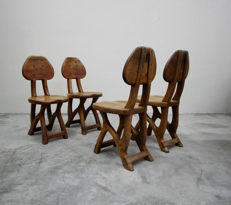 Set of 4 California Modern Primitive Studio Craft Wood Chairs In Good Condition For Sale In Las Vegas, NV