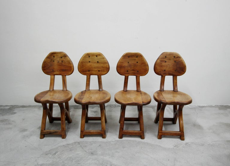 20th Century Set of 4 California Modern Primitive Studio Craft Wood Chairs For Sale