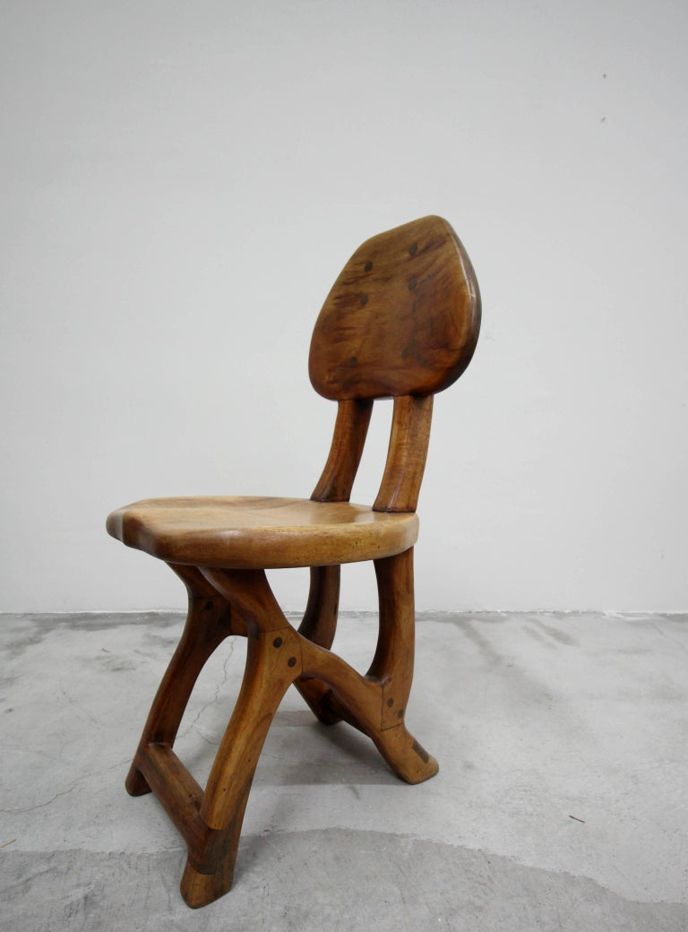 Set of 4 California Modern Primitive Studio Craft Wood Chairs For Sale 2