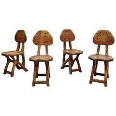 Set of 4 California Modern Primitive Studio Craft Wood Chairs