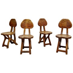 Set of 4 California Modern Primitive Studio Craft Wood Chairs