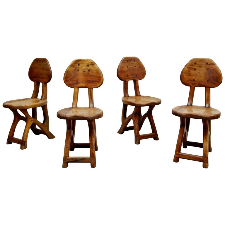 Set of 4 California Modern Primitive Studio Craft Wood Chairs For Sale