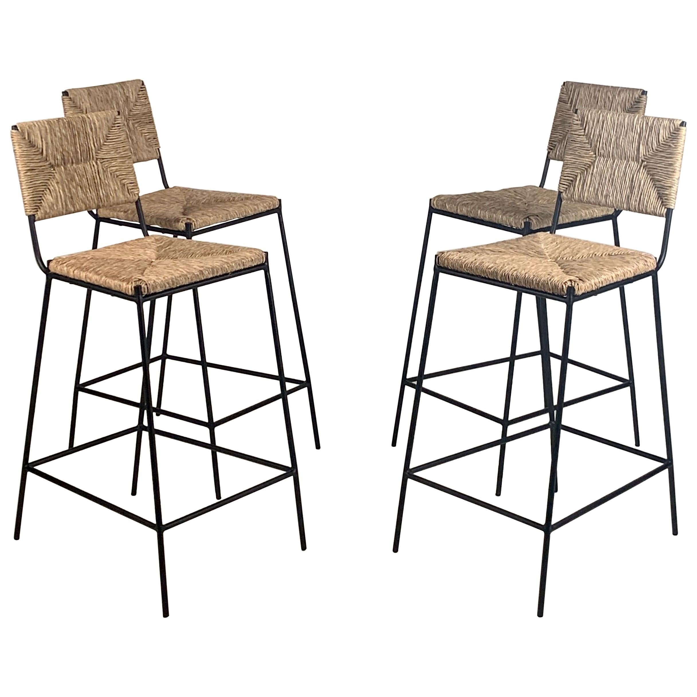 Set of 4 'Campagne' Counter Height Stools by Design Frères