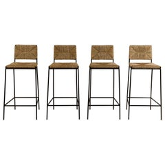Set of 4 'Campagne' Steel and Rush Counter Stools by Design Frères