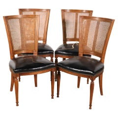 Set of 4 Cane Back French Louis XVI Distressed Leather Dining Chairs