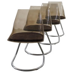 Set of 4 Cantilever Plastic Shell Chairs with Fabric Upholstery