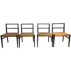 Set of 10 Cappellini Ebonized Wood and Cane Dining Chairs