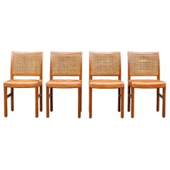 Set of 4 Carl-Gustav Hiort af Ornäs Teak, Leather and Woven Cane Dining Chairs