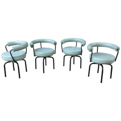 Set of 4 Cassina Swivel LC7 Chairs by Le Corbusier, Perriand & Jenneret