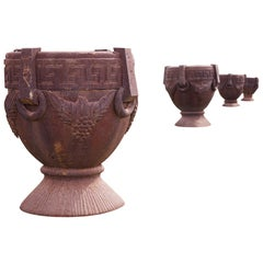 Set of 4 Cast Iron Garden Urns, after the Antique in the Greek Style