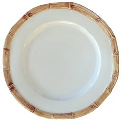 Set of 4 Ceramic Dessert Bamboo Plates, Made in Italy
