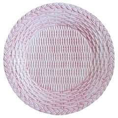 Set of 4 Ceramic Dessert Wicker Pink Plates Made in Italy