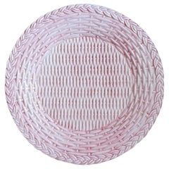 Set of 4 Ceramic Dinner Wicker Pink Plates Made in Italy