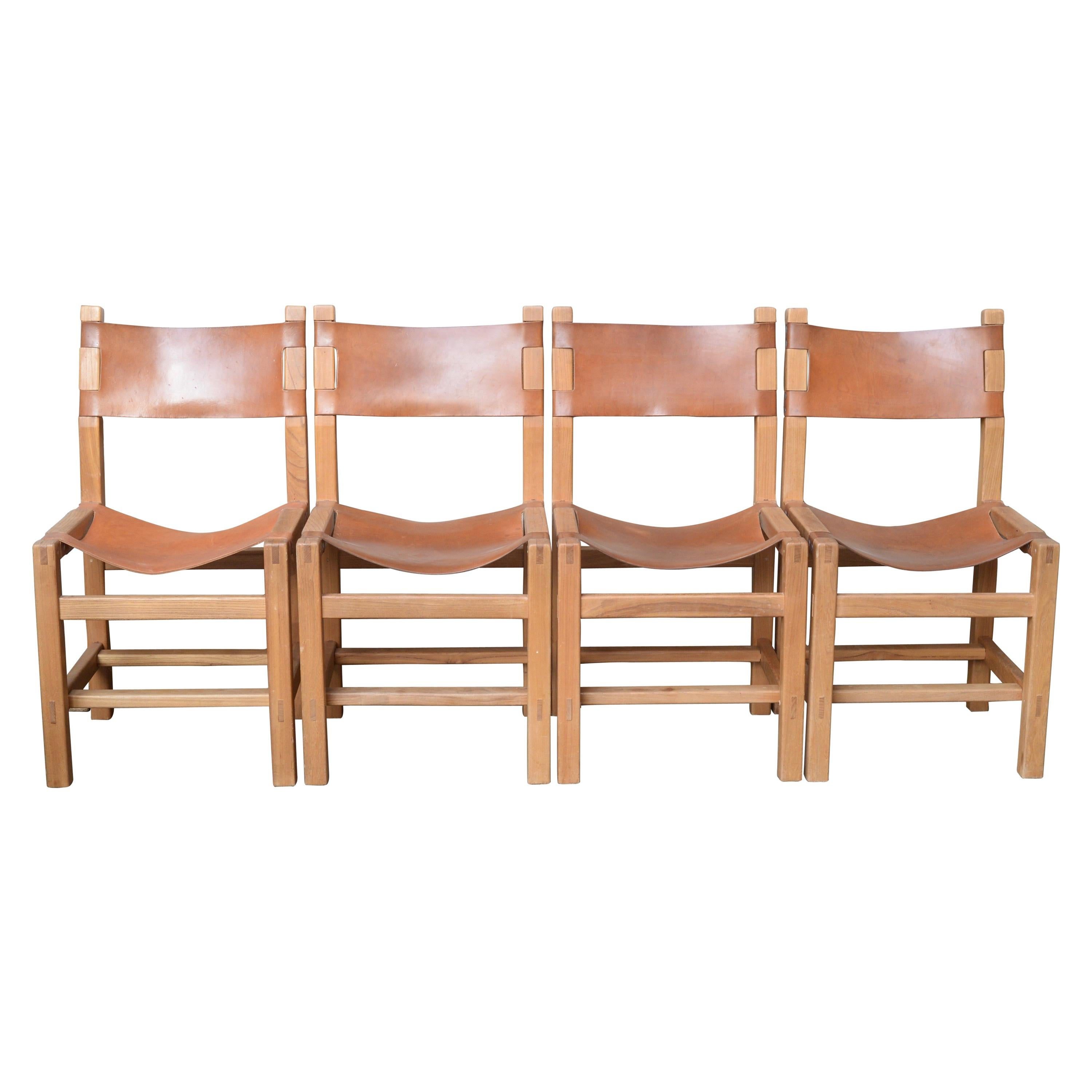 Peachy Set Of 4 Chairs And Natural Leather Seat Created By Regain House In 1960 Customarchery Wood Chair Design Ideas Customarcherynet