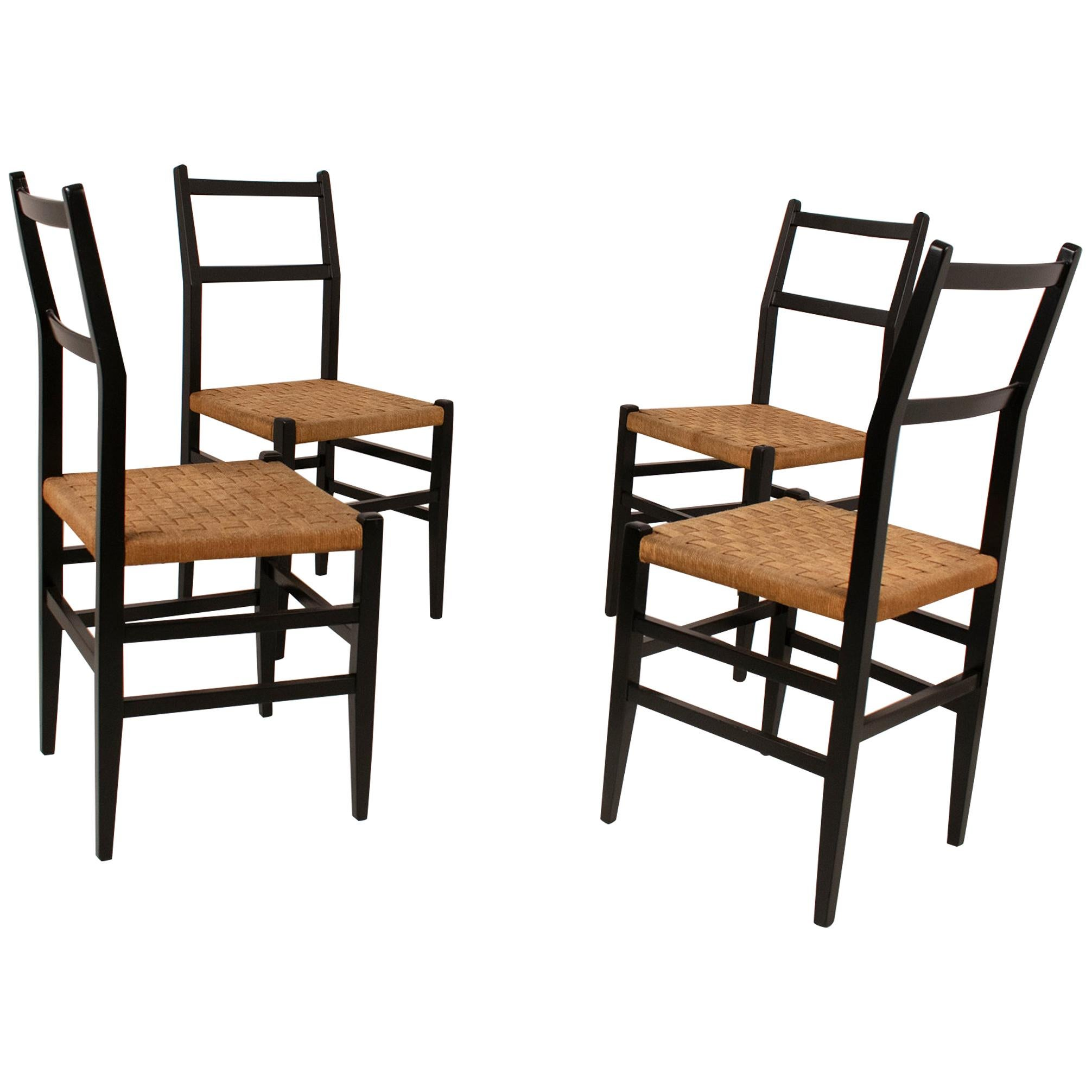 Set of 4 Chairs, Attributed to Gio Ponti, 1950s