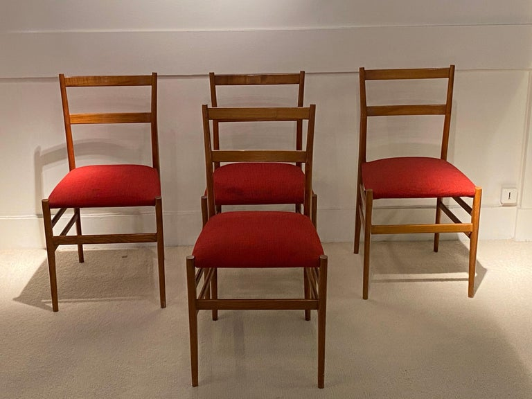 4 legera chairs by Gio Ponti, circa 1950 Edition Figli di Amadeo Casinna Fabric has some stains.