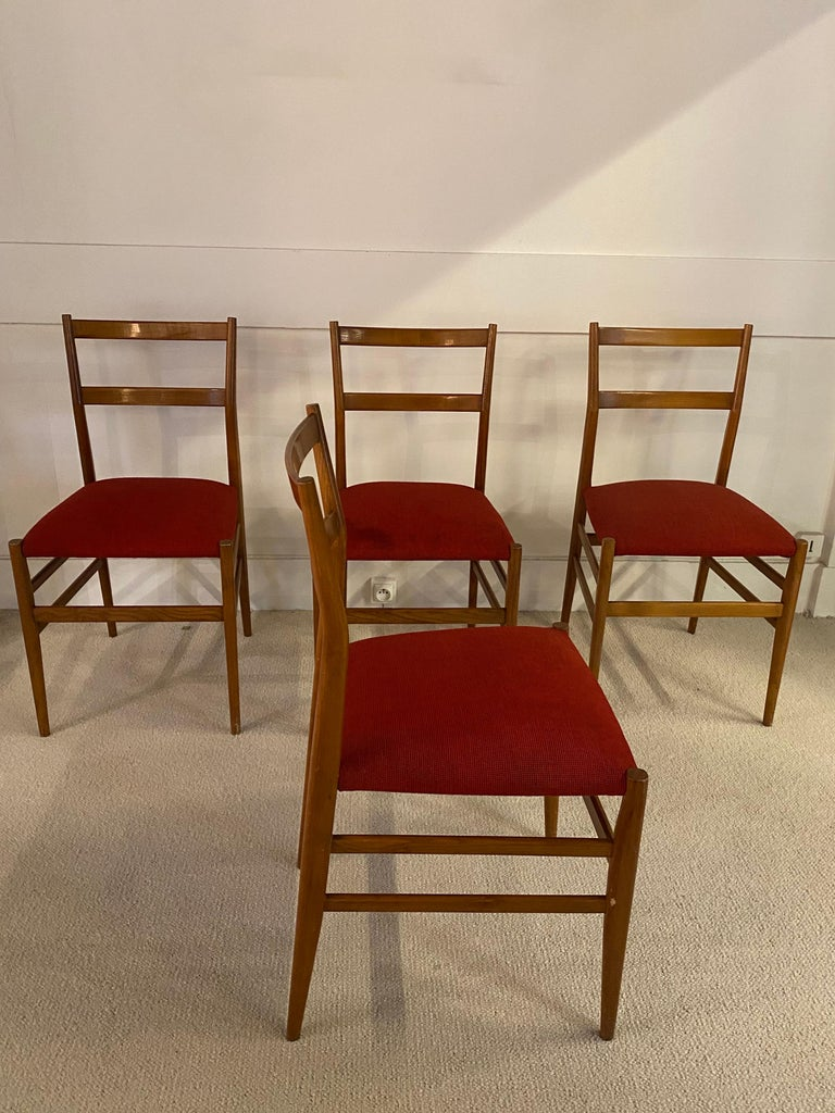 Italian Set of 4 Chairs by Gio Ponti, circa 1950 For Sale