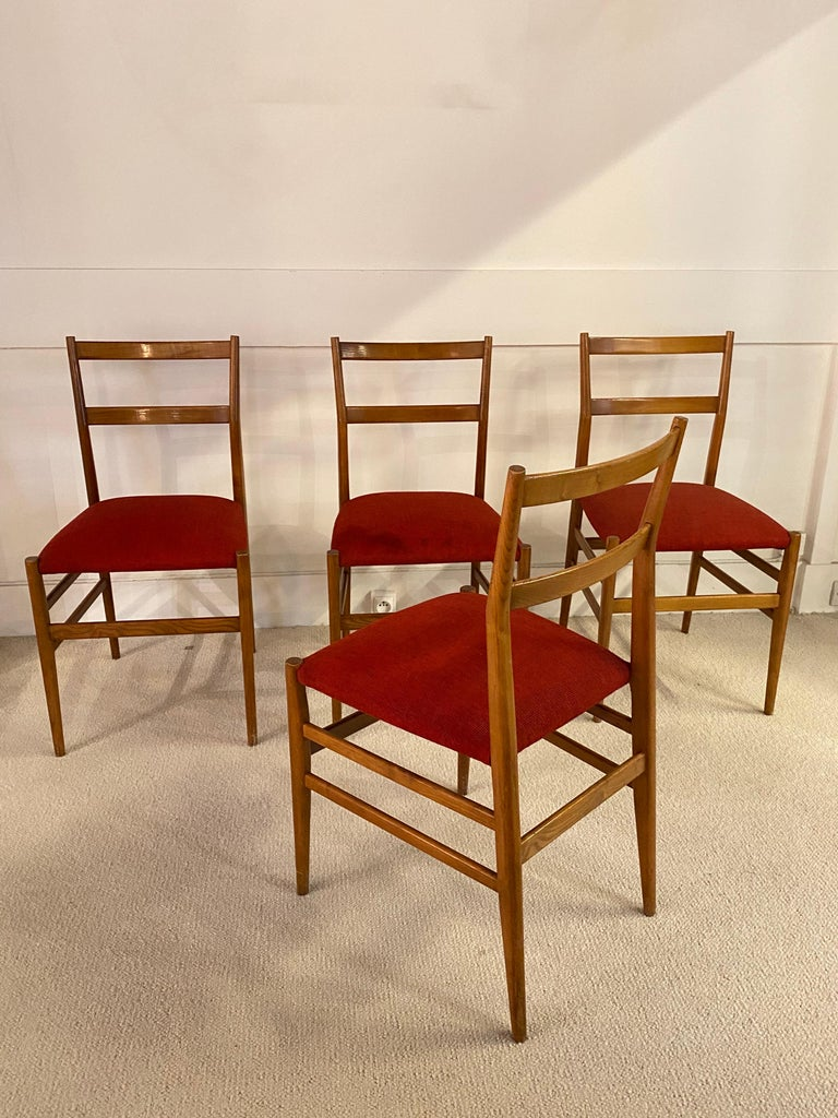 Mid-20th Century Set of 4 Chairs by Gio Ponti, circa 1950 For Sale