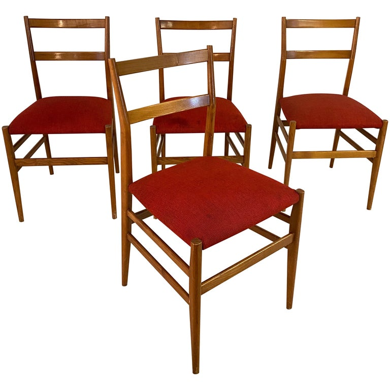 Set of 4 Chairs by Gio Ponti, circa 1950 For Sale
