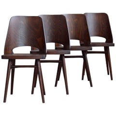 Set of 4 Chairs by Oswald Haerdtl, Beech Veneer, Oil Finish