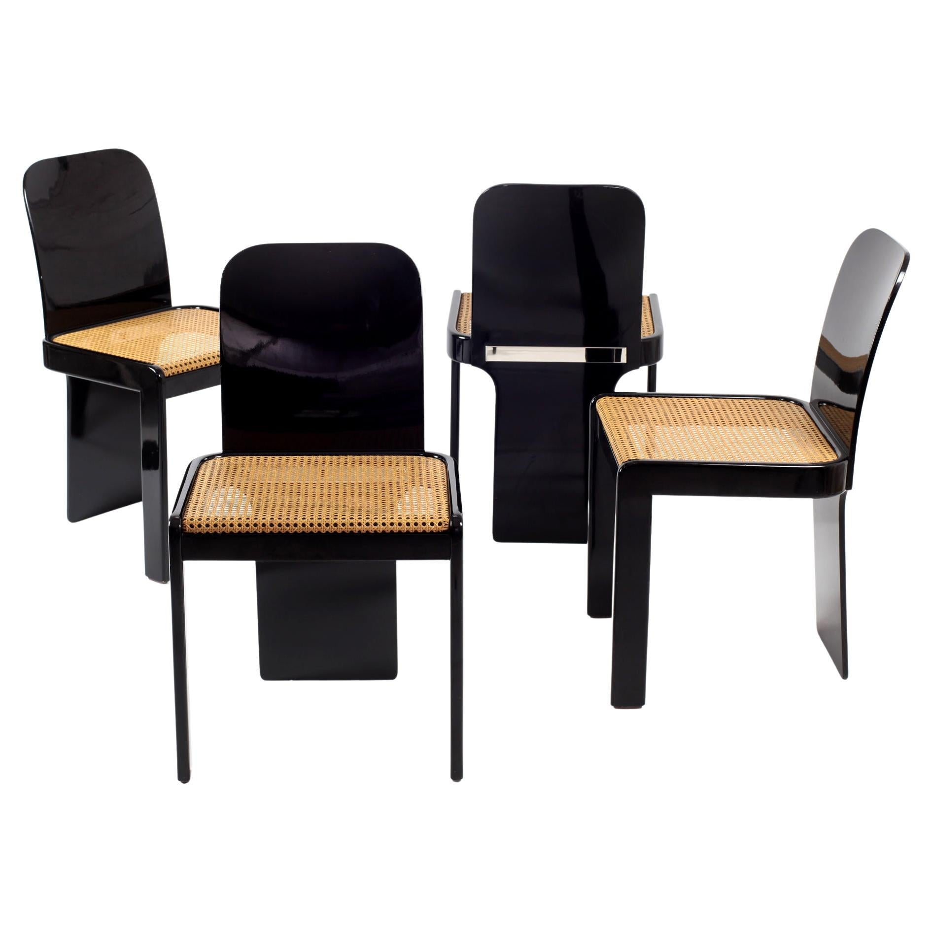 Set of 4 Chairs by Pierluigi Molinari for Pozzi Mid-Century Modern Italian 1970s
