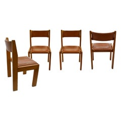 Set of 4 Chairs by Roche Bobois in Wood and Leather, in the Style of Chapo
