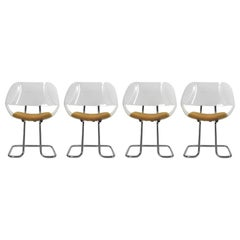 Set of 4 Chairs in Chromed Tubular Steel