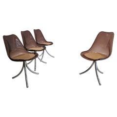 Set of 4 Chairs in Smoked Plexiglass, 1970's