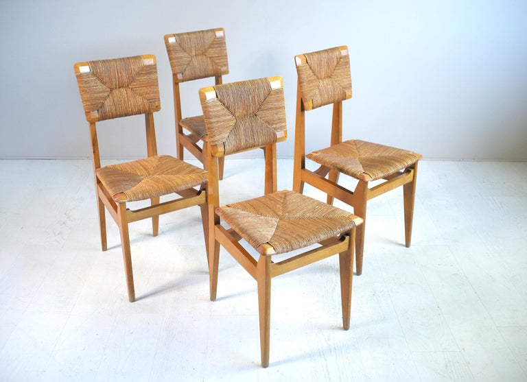Set of 4 Chairs Model C Marcel Gascoin, France, 1950 For Sale 4
