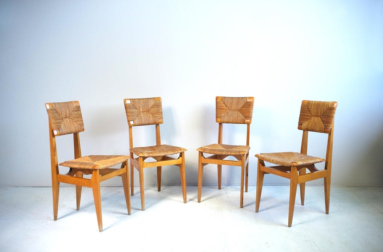 Mid-Century Modern Set of 4 Chairs Model C Marcel Gascoin, France, 1950 For Sale