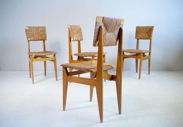 French Set of 4 Chairs Model C Marcel Gascoin, France, 1950 For Sale